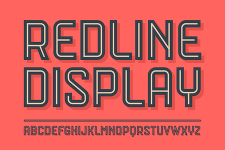 Alphabet and font Red Line Display with shadow. Bold, regular and medium uppercase letters. Trendy industrial inline font for creative design, advertising, typographic. Vector Illustration