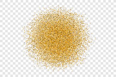 ゴールデン ・ サークルは、透明な背景に光っています。スタイリッシュなファッション輝きゴールド キラキラ背景テクスチャまたはバナー、チラ