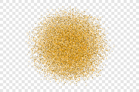 Golden circle sparkles on transparent background. Stylish fashion shine gold glitter backdrop for texture or background of banner, flyer, print for luxury design, present, gift. Vector Illustration