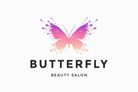 Label of beauty salon with colorful red-pink butterfly and text Butterfly. Emblem template for branding, design elements. Sign, label, identity, badge for business brand. Vector Illustration Illustration
