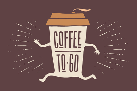 Poster take out coffee cup with hand drawn lettering Coffee To Go for cafe and coffee take away. Colorful vintage drawing for drink and beverage menu or cafe theme. Vector Illustration  イラスト・ベクター素材