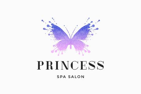 Etichetta del salone di bellezza con farfalla colorata rosso-rosa e testo Princess, Spa Salon. Modello emblema per il branding, elementi di design. Segno, etichetta, identità, distintivo per marchio aziendale. Illustrazione vettoriale