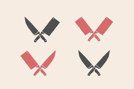 レストランのナイフのアイコンのセットです。シルエット 2 肉屋ナイフ ・包丁とシェフのナイフ。肉農民店、市場またはデザイン ビジネス ラベル