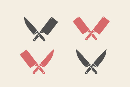 Set of restaurant knives icons. Silhouette two butcher knives - Cleaver and Chef Knives. Logo template for meat business - farmer shop, market or design - label, banner, sticker. Vector Illustration