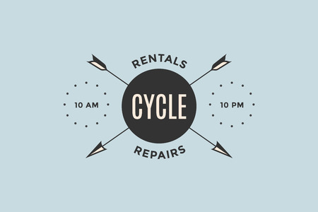 Emblem of Bicycle shop with arrows and text Cycle, Rentals, Repair. Logo template for bicycle shop in vintage retro style. Logo, signs, labels, identity for business brands. Vector Illustration