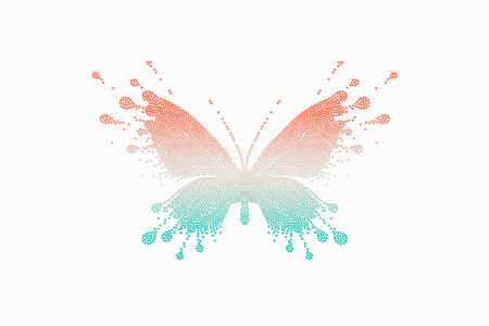 Colorful icon of red-turquoise butterfly. Emblem template for branding, design elements. Sign, label, identity, badge for business brand. Vector Illustration