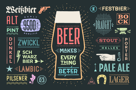 Poster or banner with text Beer Makes Everything Better and names types of beer. 일러스트