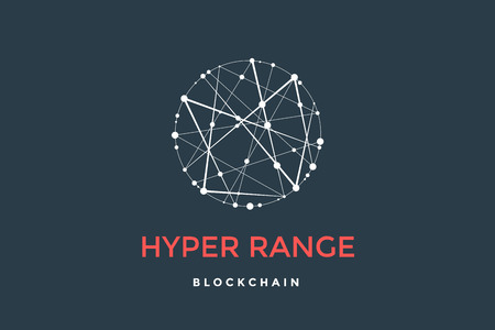 Logo for blockchain technology. Circle with connected lines for brand of smart contract block symbol. Graphic design for decentralized transactions and cryptocurrencies network. Vector Illustration Logo