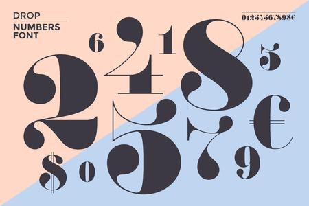 古典の数字のフォントはフランス スタイル ディドや didone 現代的な幾何学的なデザインです。美しいエレガントな数字、ドルとユーロのシンボル。