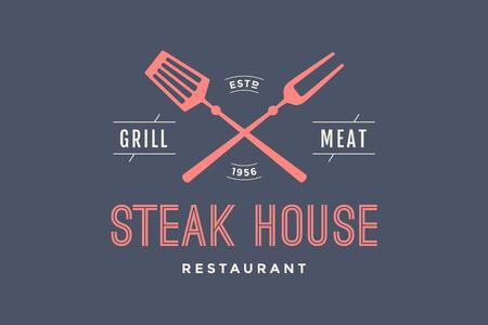 Logotipo del restaurante Steak House con símbolos de parrilla, texto Steak House, parrilla, carne, restaurante. Plantilla gráfica de logotipo para el negocio de la carne o diseño - menú, cartel, banner, etiqueta. Ilustración vectorial Foto de archivo - 86847486