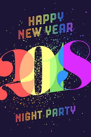 christmas backgrounds: Happy New Year. Greeting card with colorful rainbow text Happy New Year 2018, Night Party for Happy New Year Holiday. Poster, banner for homosexual, gay pride and LGBT concept. Vector Illustration