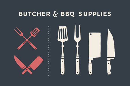 Meat cutting knives and forks set. Butcher and BBQ supplies. Poster meat knife, cleaver, chef and grill fork. Set of butcher meat knives for butcher shop and design butcher themes. Vector Illustration