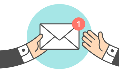 Icon of new mail envelope, with hands holding the envelope.