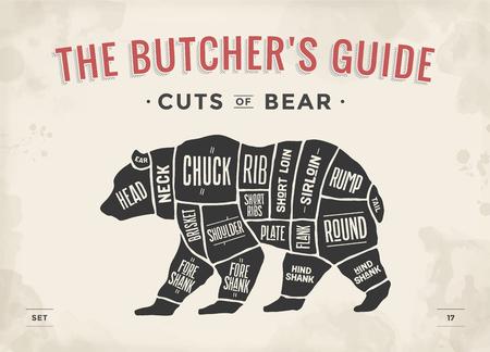 Niedźwiedź. Zestaw kawałków mięsa. Plakat schemat rzeźnika, schemat - Niedźwiedź. Sylwetka Vintage typograficzne rysowane ręcznie czarny niedźwiedź dla sklepu mięsnego, menu restauracji, projekt graficzny. Motyw mięsny. Ilustracja wektorowa