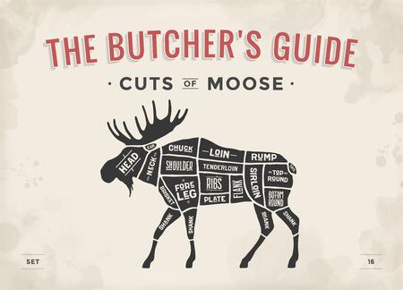 Cut of meat set. Poster Butcher diagram, scheme - Moose. Vintage typographic hand-drawn moose silhouette for butcher shop, restaurant menu, graphic design. Meat theme. Vector Illustration Vettoriali