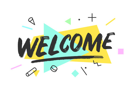 Welcome Banner, speech bubble, poster and sticker concept, memphis geometric style with text welcome. Icon message welcome cloud talk for banner, poster, web in white background Illustration. Illustration