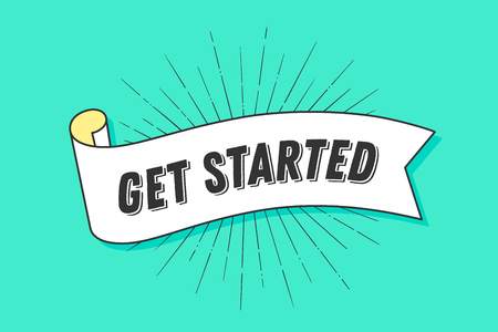 Get started. Vintage trendy ribbon with text Get Started and linear drawing of sun rays, sunburst. Banner with ribbon, hand-drawn element for design - banners, posters, gift cards. Vector Illustration Stock Illustratie