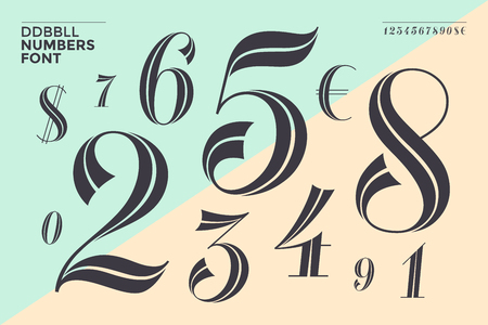 Numbers font in classical geometric design for banner, poster, invitation, greeting card. Beautiful elegant numeral, dollar, euro symbols. Vintage and retro typographic. Vector Illustration