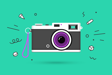 Icon of photo camera. Retro camera isolated on a blue mint background and explosive memphis graphic element. Vector Illustration