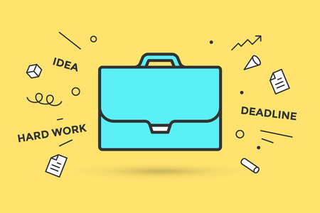 Icon of briefcase. Sign briefcase on yellow background, explosive graphic element. Businessman briefcase, explosion, memphis style element, text Hard Work, Deadline, Idea. Vector Illustration