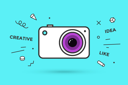 Icon of photo camera. Photo camera isolated on a blue mint background and explosive memphis graphic element and text Creative, Idea, Like. Vector Illustration Ilustração