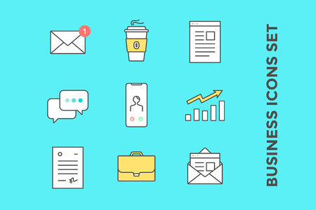 Business icons set. Icons in line style graphic for business theme - mail, envelope, coffee, letter, message chat, smartphone, growth chart, document, briefcase. Vector Illustration Illustration
