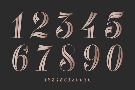 Numbers font. Classical elegant font of numbers with contemporary geometric design. Beautiful elegant retro stencil numeral, dollar and euro symbols. Vintage and retro typographic. Vector Illustration  イラスト・ベクター素材