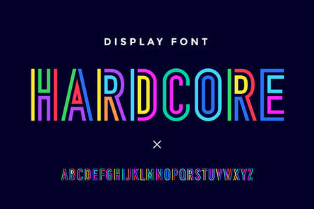 Line condensed alphabet and font. Colorful uppercase outline letters. Type, typography letter line font in coloured rainbow style. Hand-drawn modern narrow sans serif line font for headline. Vector Illustration Çizim