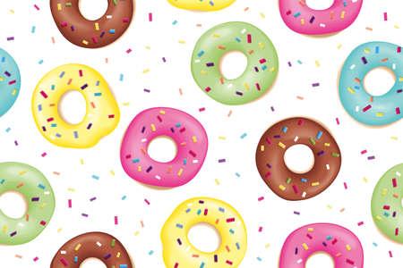 Donut. Modèle de beignets colorés sucrés. Modèle sans couture de conception dessiné main de beignets. Dessert, pâtisserie, conception de beignets pour menu, publicité, affiche, bannière de café, boulangerie, Illustration vectorielle