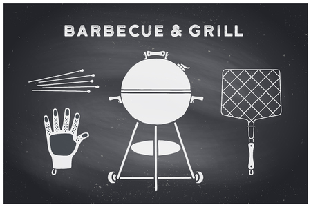 Barbecue, grill set. Poster bbq diagram and scheme - barbecue grill tools. Set of bbq stuff, Webber Grill, tools for steak house, restaurant. Black chalkboard, hand drawn, chalk. Vector illustration