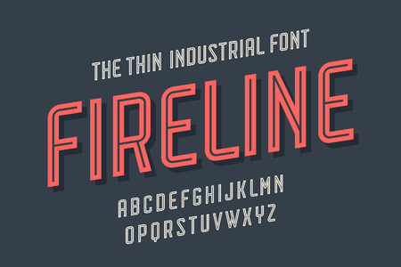 Alphabet and font Fire Line. Bold, regular and medium uppercase letters. Strong trendy industrial inline condensed font for creative design, advertising, typographic. Vector Illustration Illustration
