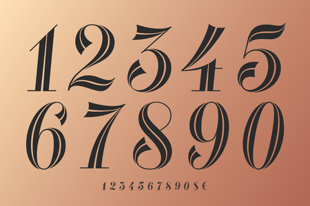 Numbers font. Classical elegant font of numbers with contemporary vintage design. Beautiful elegant retro stencil numeral, dollar and euro symbols. Vintage and retro typographic. Vector Illustration  イラスト・ベクター素材