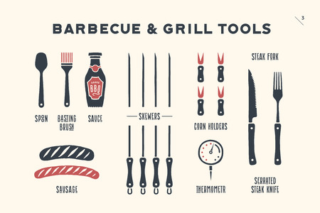 Barbecue, grill set. Poster bbq diagram and scheme - barbecue grill tools. Set of bbq stuff, tools for steak house, restaurant, kitchen poster and design meat themes. Hand drawn. Vector illustration