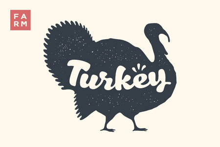 Turkey. Lettering, typography. Animal silhoutte turkey and lettering Turkey. Creative graphic design for butcher shop, farmer market, Thanksgiving Day. Vintage poster. Vector Illustration
