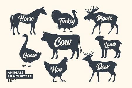 Tierschattenbildsatz. Schwarz-weiße Silhouette von Tieren mit Schriftzugnamen. Designvorlage für Lebensmittelgeschäft, Metzgerei, Verpackung, Fleischgeschäft. Bauernhof und wilde Tiere Thema. Vektor-Illustration