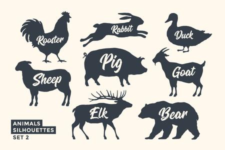 Dieren silhouet set. Zwart-wit silhouet van dieren met belettering namen. Ontwerpsjabloon voor kruidenier, slagerij, verpakking, vleeswinkel. Thema boerderij en wilde dieren. Vector illustratie