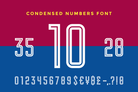 Numeric and symbol font. Sport font with Numeric, Numbers and Money Symbols. Bold and regular uppercase numbers. Strong industrial inline sport font for creative typographic. Vector Illustration Illustration