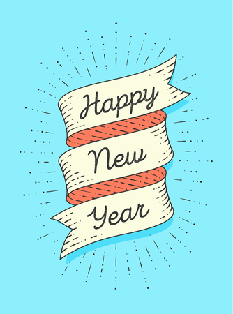 happy new year ribbon banner in engraving style with text happy new year and vintage