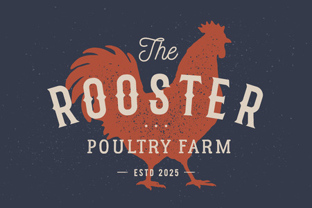 Rooster, poultry. Vintage logo, retro print, poster for Butchery meat shop with text typography Rooster, Poultry Farm, rooster silhouette. Label template rooster, hen, chicken. Vector Illustration  イラスト・ベクター素材