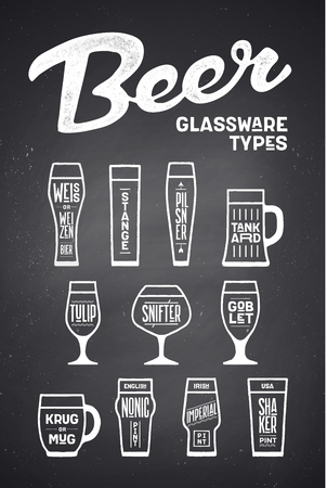 Beer glassware types. Poster or banner with different types of glass and mug for beer. Chalk graphic design on chalkboard. Poster for menu, bar, pub, restaurant, beer theme. Vector Illustration  イラスト・ベクター素材