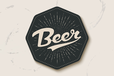 Coaster for beer with hand drawn lettering Beer. Monochrome vintage drawing for bar, pub and beer themes. Black coaster for placing a beer mug or a bottle over it with lettering. Vector Illustration