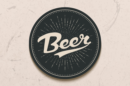 Coaster for beer with hand drawn lettering Beer. Monochrome vintage drawing for bar, pub and beer themes. Black circle for placing a beer mug or a bottle over it with lettering. Vector Illustration  イラスト・ベクター素材