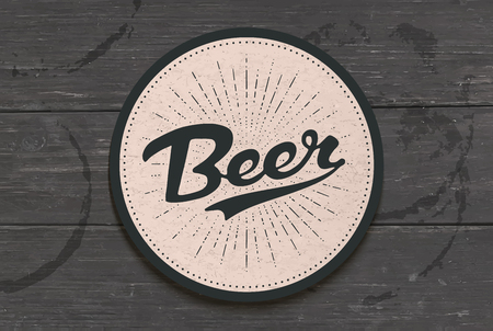Coaster for beer with hand drawn lettering Beer. Monochrome vintage drawing for bar, pub and beer themes. Black coaster for placing a beer mug or a bottle over it with lettering. Vector Illustration Stockfoto - 117764538