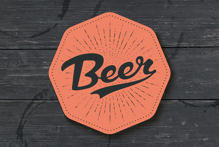Coaster for beer with hand drawn lettering Beer. Monochrome vintage drawing for bar, pub and beer themes. Color coaster for placing a beer mug or a bottle over it with lettering. Vector Illustration Illustration