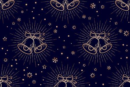 Christmas pattern. Seamless christmas pattern, golden sign jingle bells with light rays vintage retro graphic in engraving retro style for Happy New Year or Merry Christmas. Vector Illustration