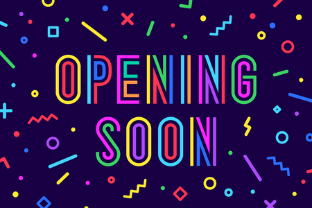Openning Soon. Banner, speech bubble, poster and sticker concept, geometric style with text opening soon. Message opening soon for banner, poster, web,, graphic on blue background. Vector Illustration