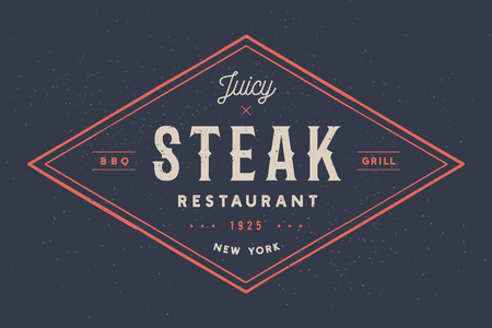 Steak, logo, meat label. Logo with text steak restaurant, juicy steak, bbq, grill. Logo template for meat business - shop, market, restaurant or design banner sticker, menu. Vector Illustration  イラスト・ベクター素材