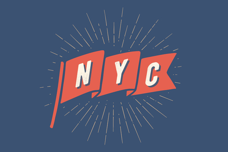 Flag NY. Old school flag banner with text New York City, USA. Ribbon flag in vintage style with linear drawing light rays, sunburst and rays of sun. Hand drawn design element. Vector Illustration Illustration