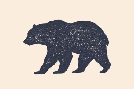 Oso, silueta. Vintage, impresión retro, cartel para carnicería, silueta de oso. Plantilla de logotipo para el negocio de la carne, tienda de carne. Oso silueta blanco negro aislado. Ilustración vectorial