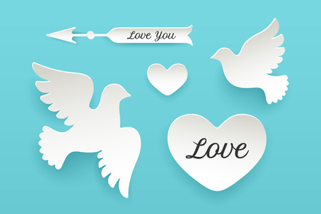 Set of paper objects, heart, dove, pigeon, arrow with shadow. White paper isolated silhouette symbols with text Love, Love You. Design elements for Valentine Day, theme of Love. Vector Illustration